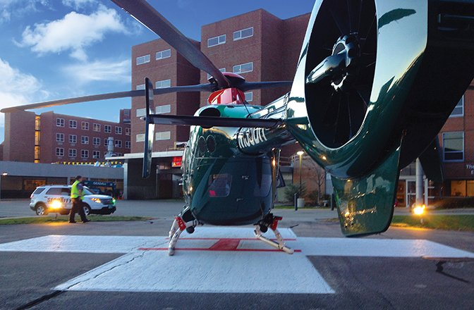Medi-vac helicopter on helipad